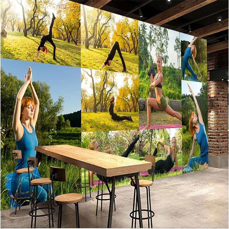 yoga background studio mural wall