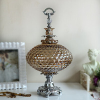 Luxury American Glass Compote European Model Room Decor Home Furnishing Soft Practical Crystal Glass Fruit Plate