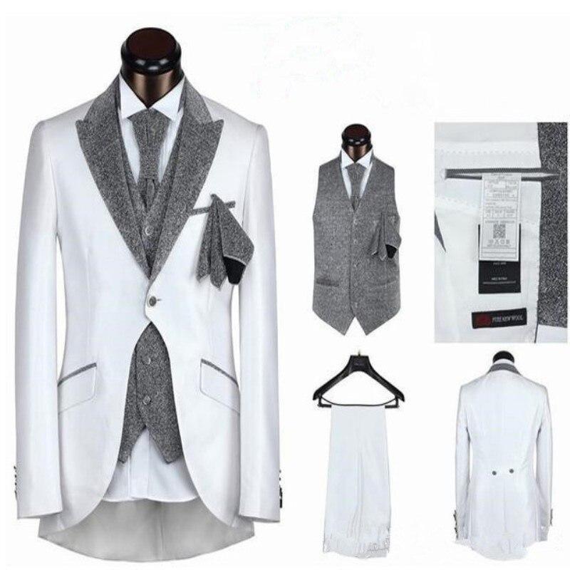 Alta calidad Formal esmoquin cola fiesta vestido de boda chaqueta de solapa pico traje de hombre 3 piezas último diseño chaqueta + pantalón + chaleco-in Trajes from Ropa de hombre    1
