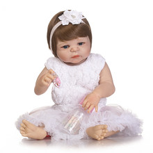 Baby reborn doll 55cm Baby girl dolls full silicone Boneca Reborn Brinquedos Bonecas Children's day gifts toys bed time plamates(China)