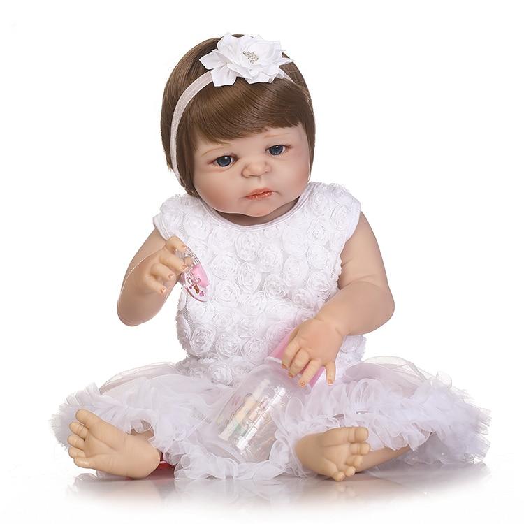 Bébé reborn poupée 55 cm bébé fille poupées pleine silicone Boneca Reborn Brinquedos Bonecas enfants jour cadeaux jouets lit temps plamates