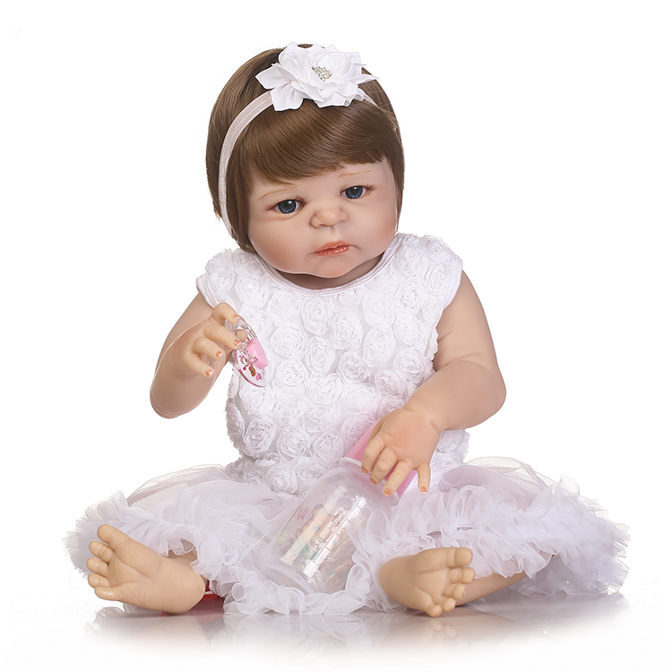 Newest Style White Skin Reborn Baby Dolls 22 Inch Handmade Newborn Girls Full Silicone Vinyl Doll Toy With Blue Eyes For Sale luoxiaohei style polyester spandex doll toy decoration black yellow blue white