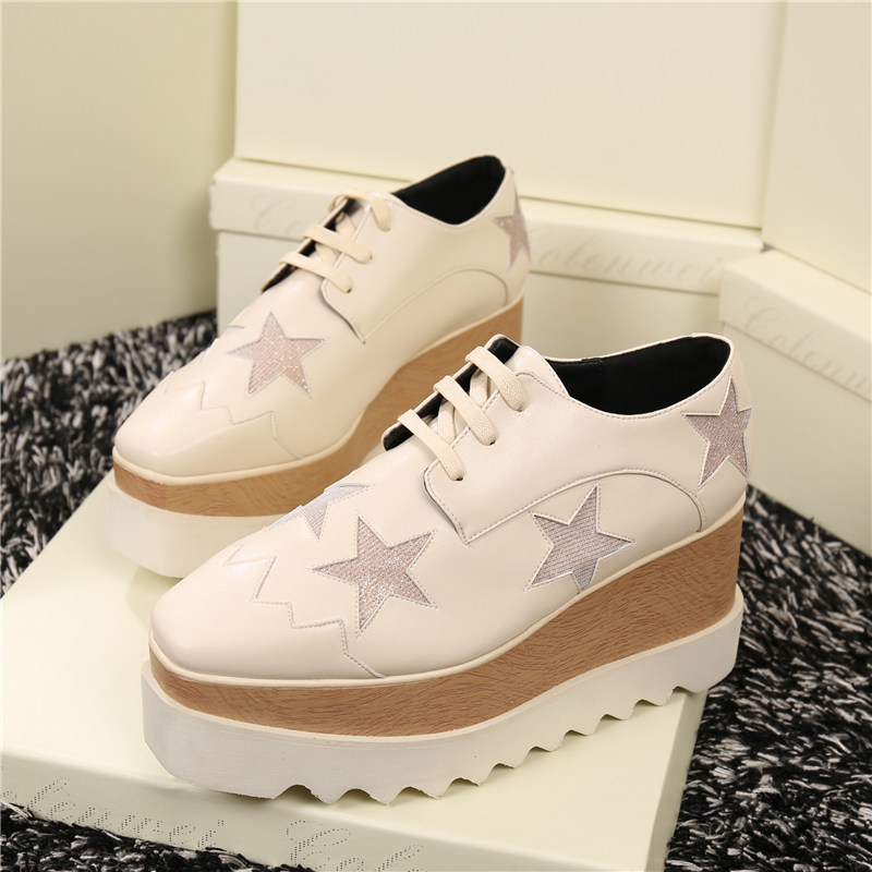 2017 Hotest top quality women wedge causal shoes lace up stylish shallow flat platform stars shoes for young spring autumn