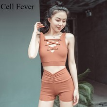 Women Yoga Set Two Piece Sport Sets Fitness Running Sports Bra And High Waist Shorts Suits Female Tracksuits Workout Clothes female longsleve asics 134610 8065 sports and entertainment for women sport clothes tmallfs