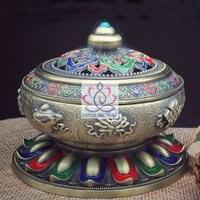 Tibetan Style Painted Enamel Bronze Alloy Incense Burner With Eight Auspicious Symbols Metal Craft Home Decor