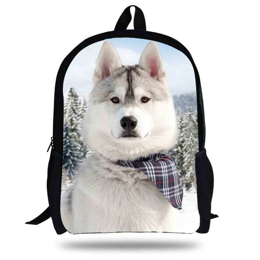 Mochila Backpack Dog-School-Bags Girls Boys Animal for Husky 16-Inch