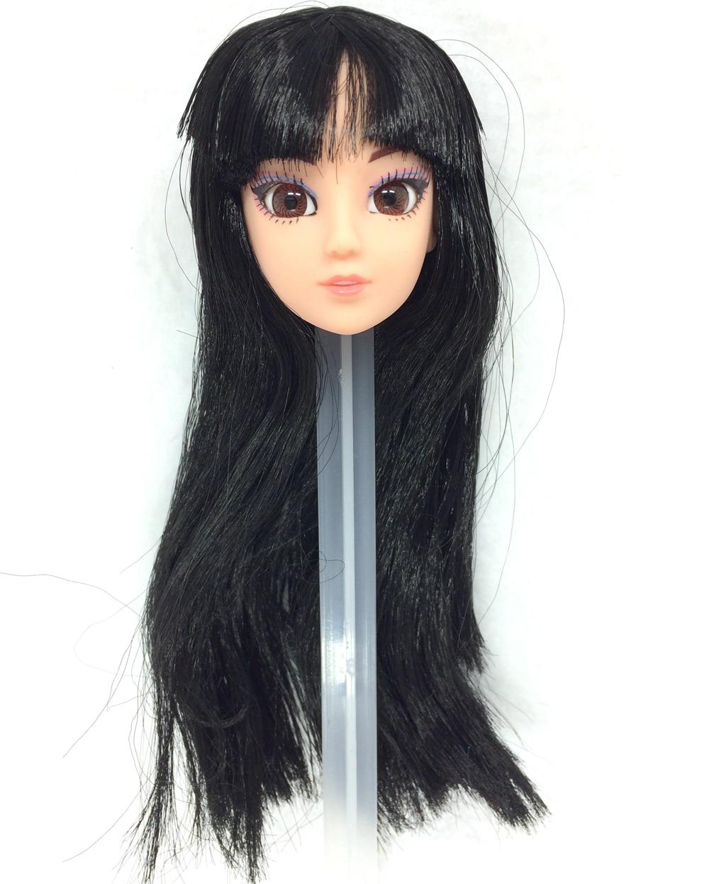 NK One Pcs Vogue Doll Head  Black Hair 3D Eyes DIY Equipment For Barbie Kurhn Doll Greatest Woman' Reward Little one' DIY Toys 024T