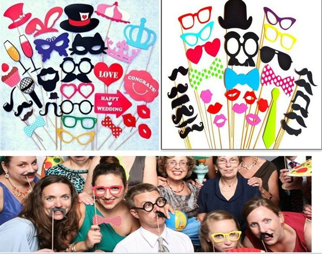 63 Pcs Funny Wedding Photo Booth Props Photography Paper Party For