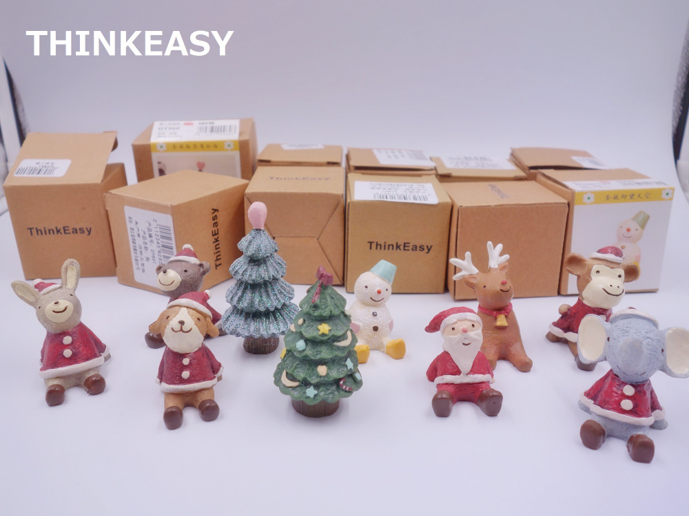 THINKEASY 11 Pieces Christmas Animals Watch Sky Santa Claus Christmas Tree Resin Figures Holiday Decorated font