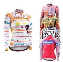 Mujeres Jerseys de Ciclo de la bicicleta MTB de La Bicicleta Tops Camisas Ropas Tela de Manga Larga de la Aptitud Cómoda Transpirable Ropa Ciclismo