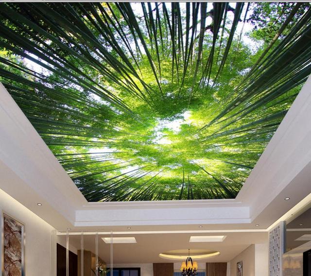 Customize Ceiling Tiles Fresh Bamboo Sky Wallpaper Stereoscopic Non Woven Hd