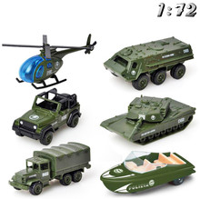 1:72 Tactical Military Car Model Simulated Alloy Skiing Military Green Tank Armored Cars Off-road Vehicle Models Children Toys tamiya model1 35 scale military models 89770 british armored car staghound mk i plastic model kit