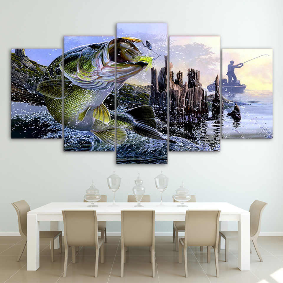 Print Wall Poster High Quality Canvas 5 Panel Animal Fish Modular Pictures Frame Art Painting Fashion For Living Room Decor