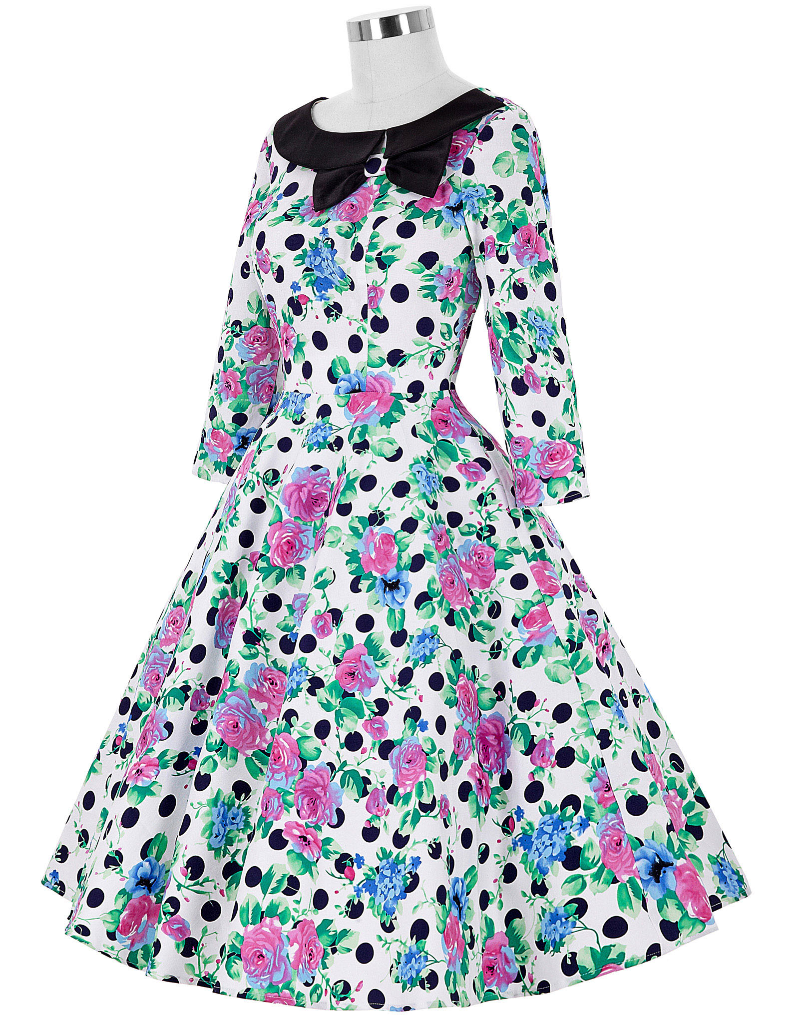 50s 60s 3/4 Sleeve Polka Dots Retro Vintage Party Picnic Swing Housewife Dress