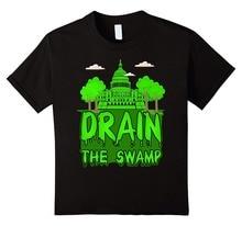 Summer Sleeves Cotton Fashion T Shirt Short Sleeve Men Drain The Swamp Short Sleeve Crew Neck T Shirts цена