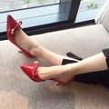 2016 Autumn New Red High Heel Pumps Patent Leather Bowties Red Bottom 6.5cm Elegant Wedding Office Working Shoes