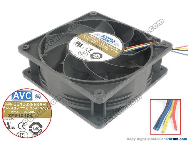 Free shipping For AVC 2B12038B48H, P079 DC 48V 0.70A 4-wire 120x120x38mm Server Square fan