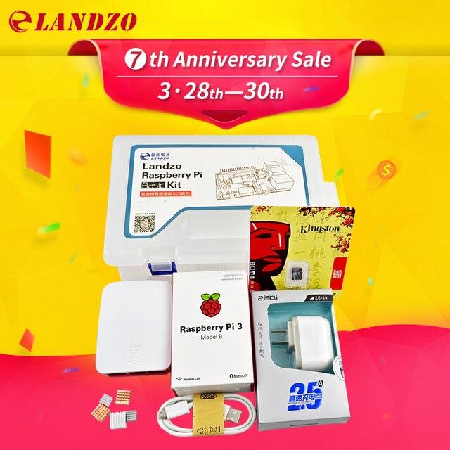 G raspberry pi kit - Raspberry Pi 3 Board + 5V 2.5A Power Supply + Case + Heat Sink For Raspberry Pi 3 Model B wifi & bluetooth