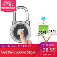 Fingerprint Smart Keyless Lock Waterproof APP Button Password Unlock Anti Theft Padlock Door Lock for Android iOS System