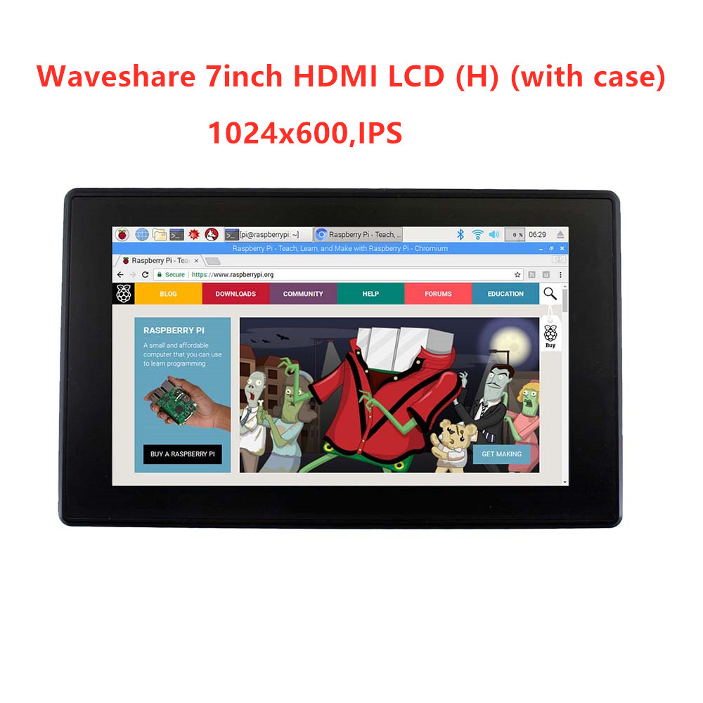 Image 2 - Waveshare 7inch HDMI LCD (H)+Case,1024x600,IPS,Capacitive Touch LCD,support WIN10 IOT,Win 10/8.1/8/7,Raspberry Pi,Banana Pi etc-in LCD Monitors from Computer & Office