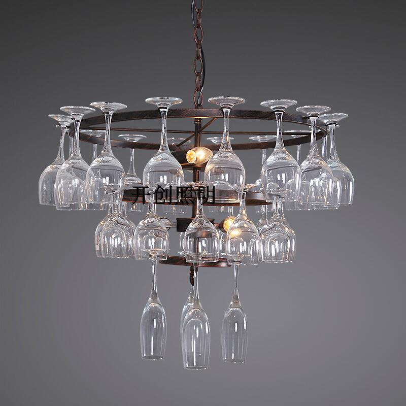 Personality advocates lighting American Pastoral high foot glass creative Pendant lamps hotel bar lamp dining room living GY159