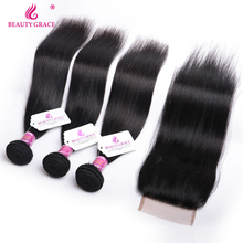 Beauty Grace Straight Peruvian Hair Bundles With Closure 4*4 Lace 3 Bundles Non Remy Hair Weave Human Hair Bundles With Closure