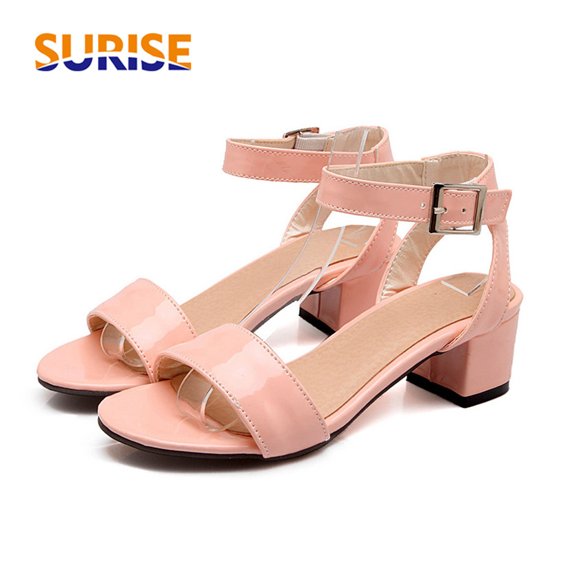 Plus Large Size Summer Woman Sandals Square Block Low -4738