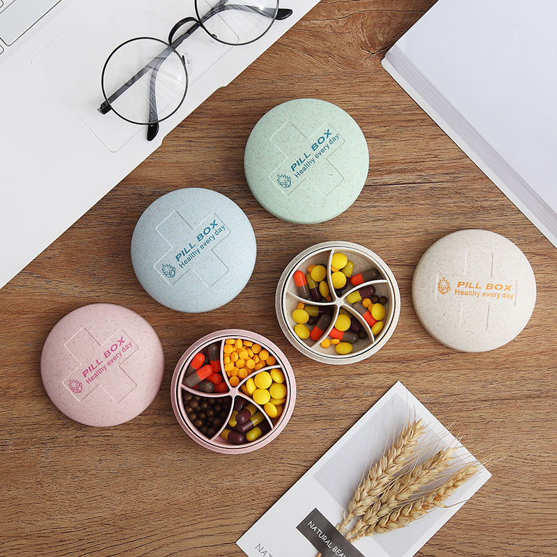 Circular Pill Box Portable 5 Grids Medicine Case Travel Home Pills Drugs Container Mini Fashionable Secret Stash