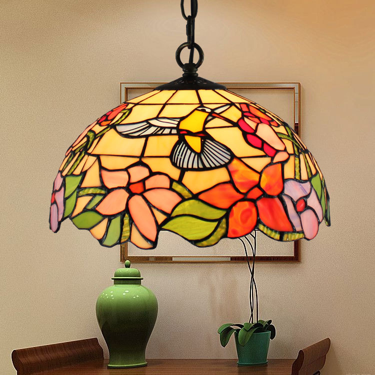12inch Tiffany color glass retro restaurant  bars cafes Internet cafe birds pendant  lights stained glass hanging lights12inch Tiffany color glass retro restaurant  bars cafes Internet cafe birds pendant  lights stained glass hanging lights