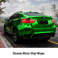 Stretchable Chrome Mirror Green Vinyl Wrap With Air Bubble Free Car Wrap Foil Chrome Green Wrap Film Size:1.52*20M/Roll