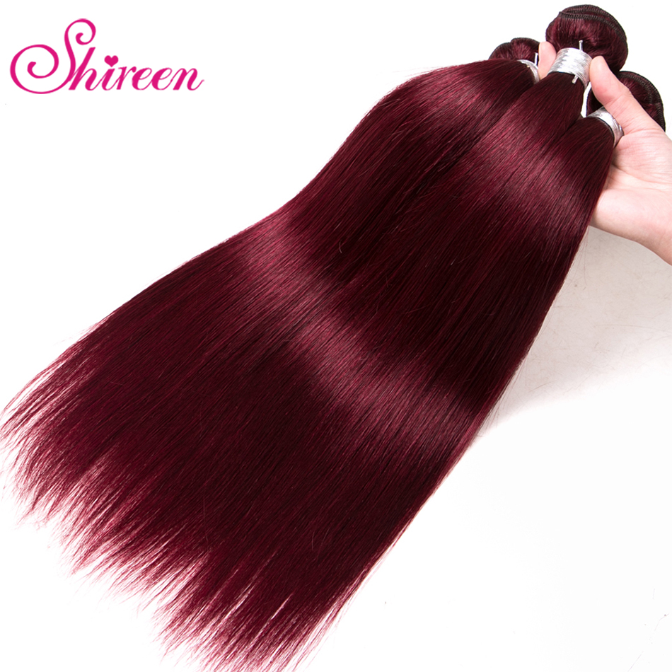 Shireen Bundles Hair-Extensions Wine Human-Hair Burgundy Straight Brazilian Pre-Colored