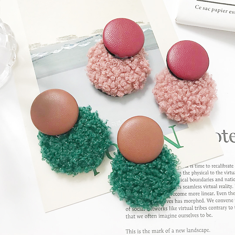 2018 fashion jewelry leather button earrings simple personality geometric boucle d 39 oreille