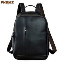 PNDME mens black genuine leather backpack vintage simple high quality crazy horse large capacity travel laptop bookbags