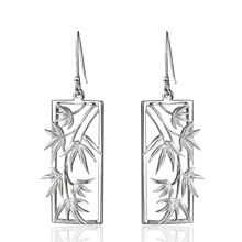 Dormith  real 925 sterling silver earrings  Rectangle bamboo leaf earrings drop earrings for women jewelry earrings rectangle fake gem drop earrings