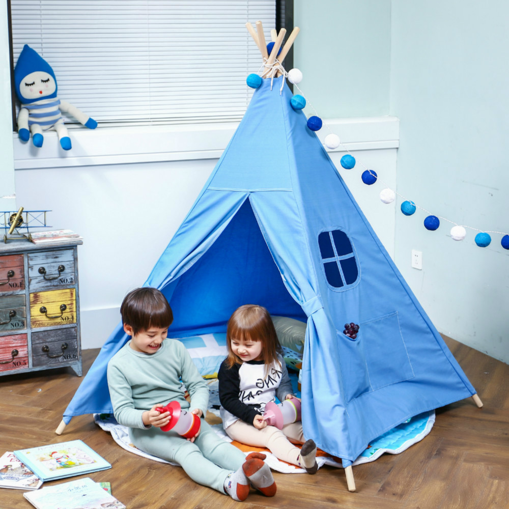 LoveTree Four Poles One Windows Style Children Teepees Kids Play Tent Cotton Canvas Teepee Playhouse kids teepee teepee for sale four poles kids play tent cotton canvas teepee children toy tent white pink blue playhouse for baby room tipi