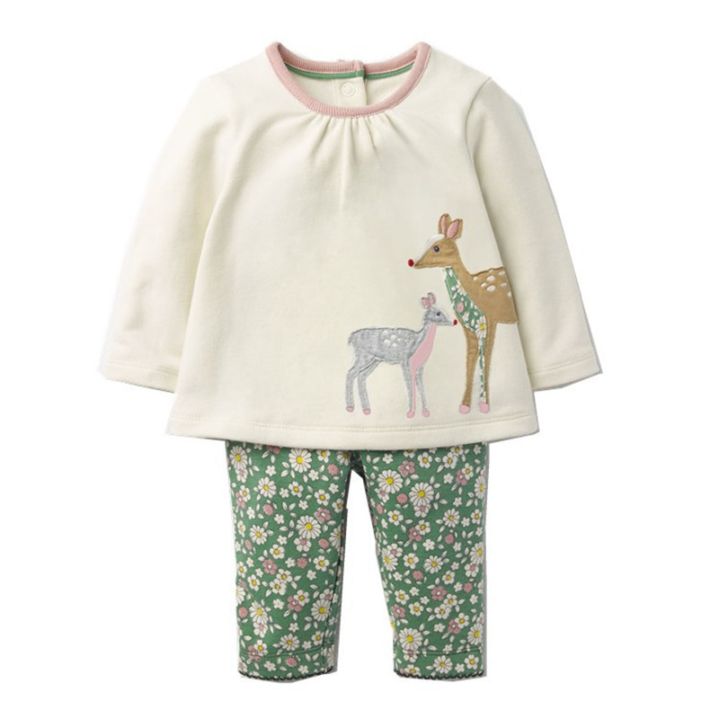 Baby girl Clothes sets christmas 2017 Kids Fashion Cotton Cute Animal deer baby Sets girls Clothes Toddler long sleeve 2pcs set kids baby girls long sleeve lace dresses one piece dots deer cotton girl dresse toddlers clothes