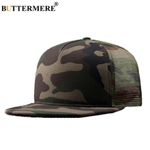 BUTTERMERE Camo Snapback Caps Mesh For Men Camouflage  Casual Hip Hop Adjustable Summer Military Cotton Baseball Hat Male