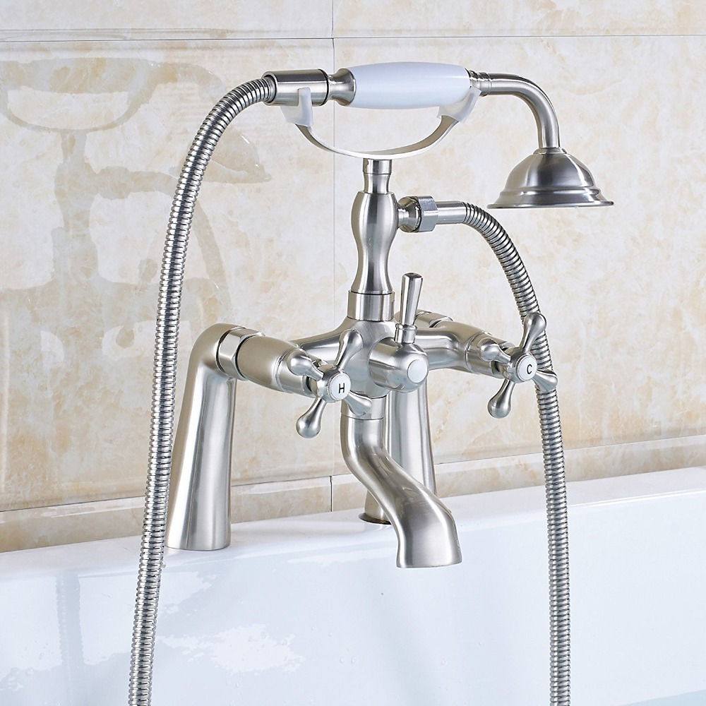 Dual Handle Side Mounted Bathtub Sink Faucet Telephone Style Hand ...