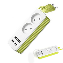 цена на EU Plug Power Strip 2 AC Plug Travel Adapter 1200W Multiple Portable 4 USB Port Charger Socket 1.5m for Smartphones Tablets