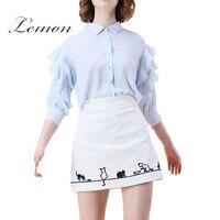 Lemon 2017 Summer Elastic Waist Lady Soft Cat Cut Print Causal Black White Loose Calf Length