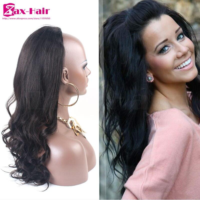 Body Wave Human Hair Half Wigs  613 Blonde 3 4 Half Wig 7A Brazilian Virgin  Human Hair Glueless No Lace Wig For Black Women Sale-in Human Hair Lace Wigs  ... e2a68115b