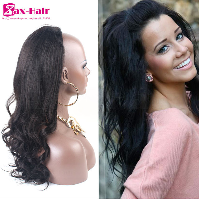 Body Wave Human Hair Half Wigs  613 Blonde 3 4 Half Wig 7A Brazilian Virgin Human  Hair Glueless No Lace Wig For Black Women Sale 51a1d9b1dd