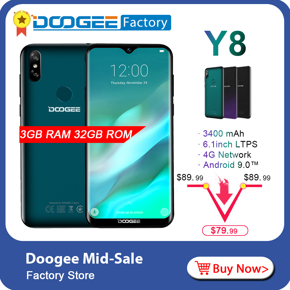 DOOGEE Y8 Android 9 0 Waterdrop 6 1 inch Screen Smartphone 4G LTE Face ID MTK6739