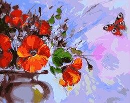 Mahuaf X511 Motyl Diy Obraz Olejny By Numbers Kwiaty Ręcznie