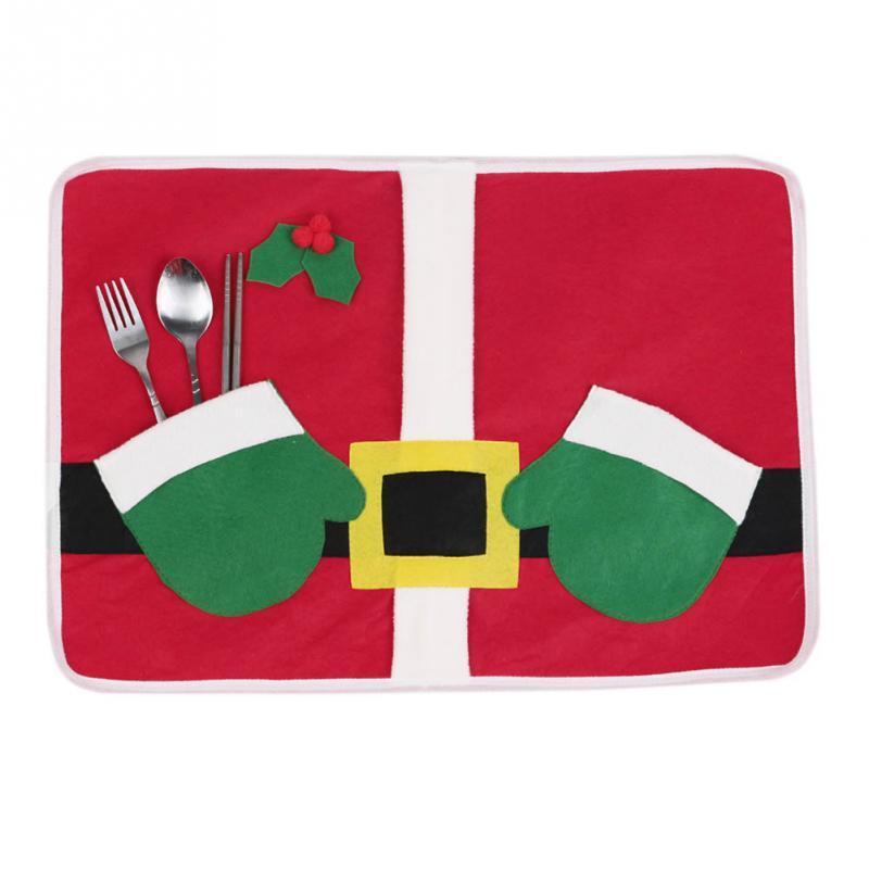 Navidad Santa Claus Traje de Mesa Mantel Mano Bolsas de Vacaciones ...
