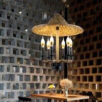 Бамбук подвесные светильники шляпы агротуризм отель кафе ресторан Юго Восточной Азии Китай горячий горшок магазин пеньковый Канат Утюг по