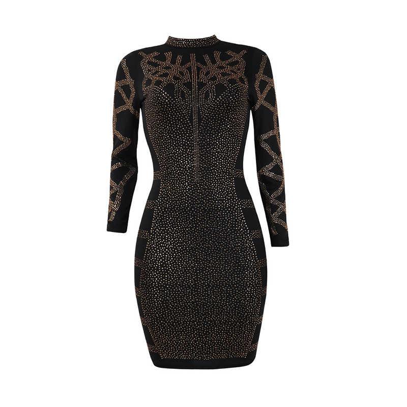 Соблазнительные Стразы бриллианты Bodycon платье Для женщин тонкий длинными рукавами и высоким воротником для девочек облегающие платья леди перспектива для вечеринки, клуба, мини платье