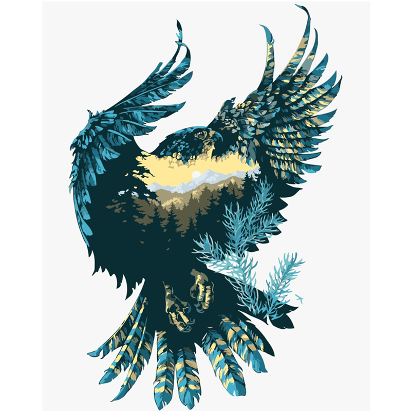 Pintura Por Números DIY Dropshipping 40x50 50x65cm renderização de Imagem águia Animal Da Lona Decoração Do Casamento Da Arte imagem Presente