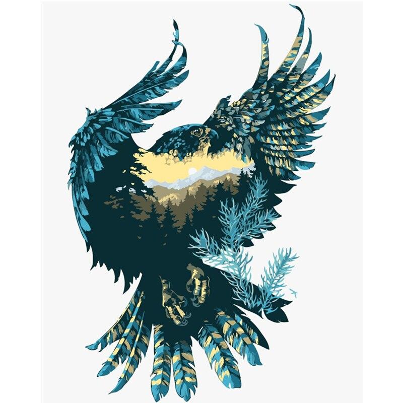 Pintura por números diy dropshipping 40x50 50x65cm imagem eagle renderização animal lona decoração do casamento arte imagem presente
