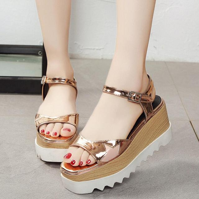 efdae4465bc49 European Brand Super High Platform Sandals Women Gold Silver Shoes with  Stars Open Toe Gladiator